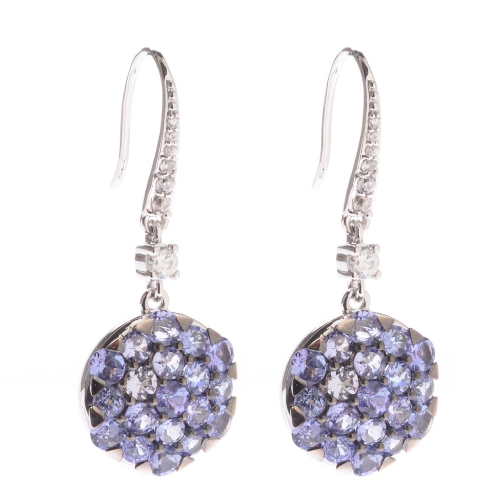 "139-873 - Gem Treasures 14K White Gold 1.5"" 5.42ctw Tanzanite & White Zircon Earrings"