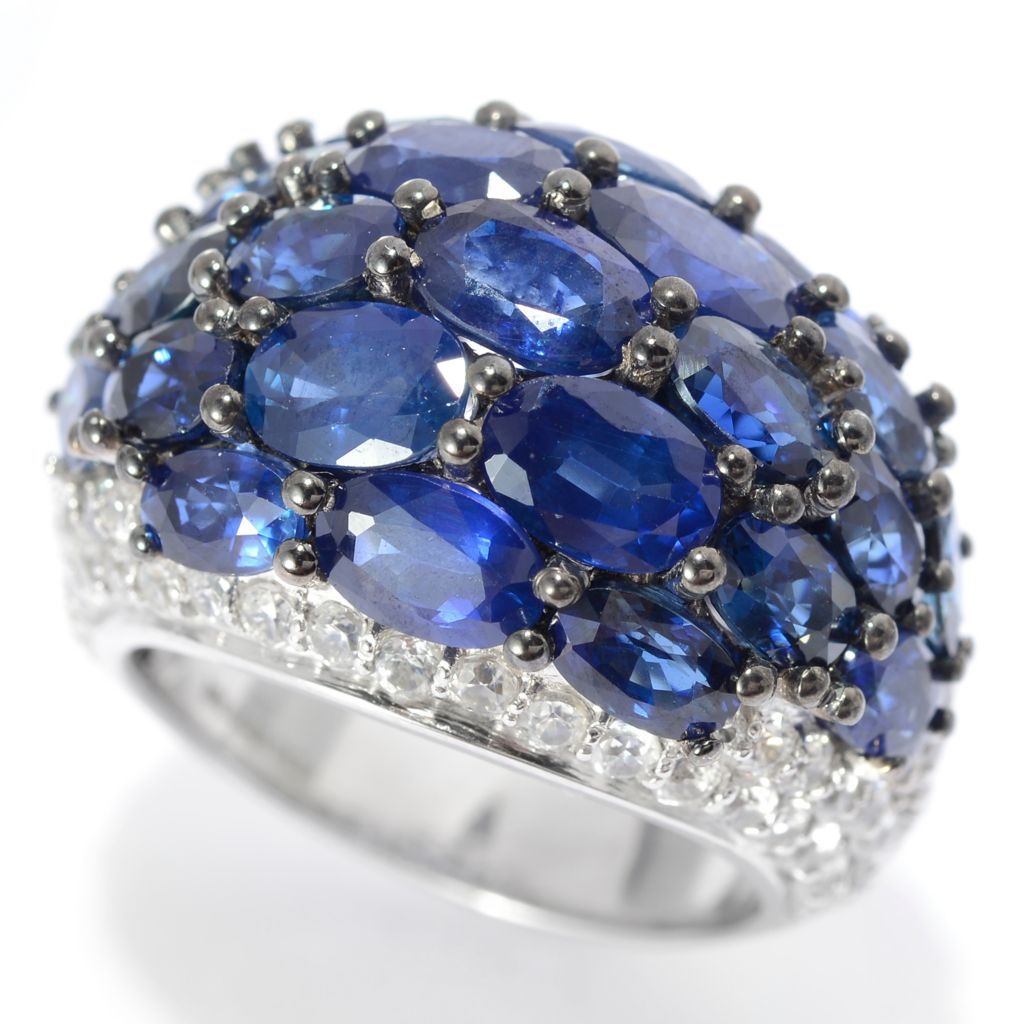 139-874 - Gem Treasures Sterling Silver 12.78ctw Sapphire & White Zircon Dome Ring