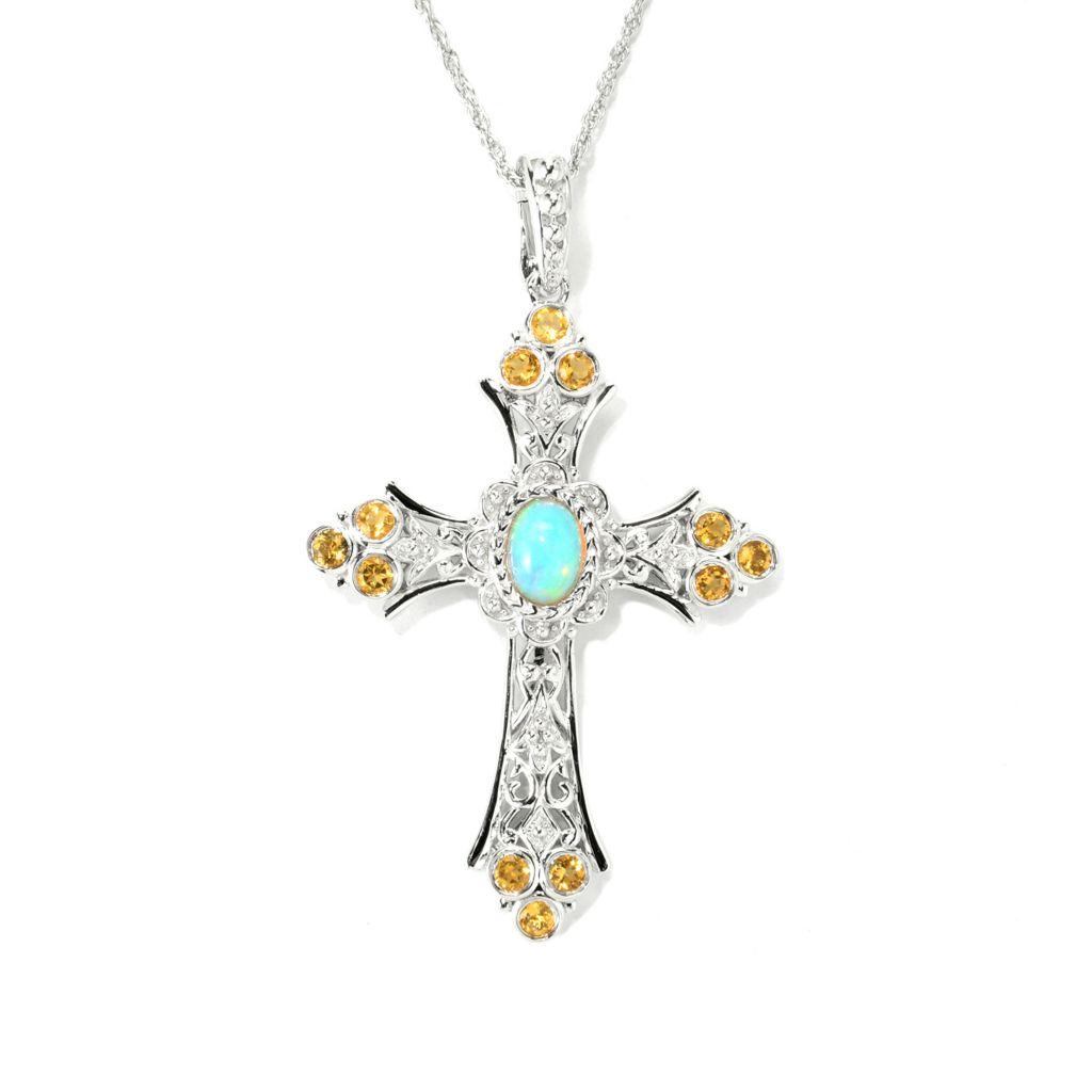 139-875 - Dallas Prince Sterling Silver 1.10ctw Ethiopian Opal & Citrine Cross Enhancer