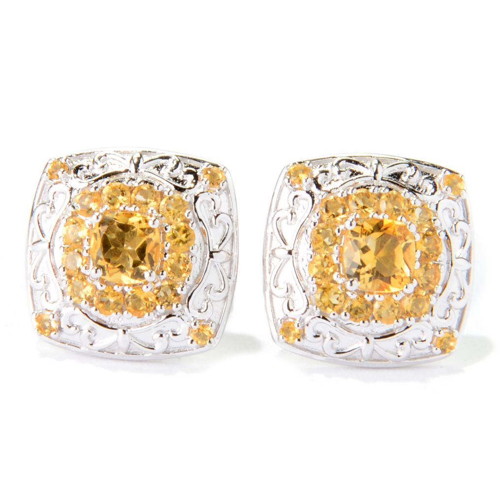 139-878 - Dallas Prince Sterling Silver 1.70ctw Gemstone Square Stud Earrings