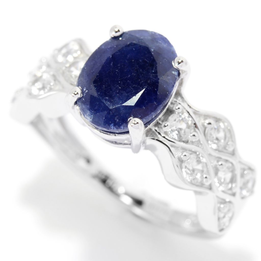 139-880 - Gem Treasures 14K White Gold 3.02ctw Sapphire & White Zircon Wave Band Ring