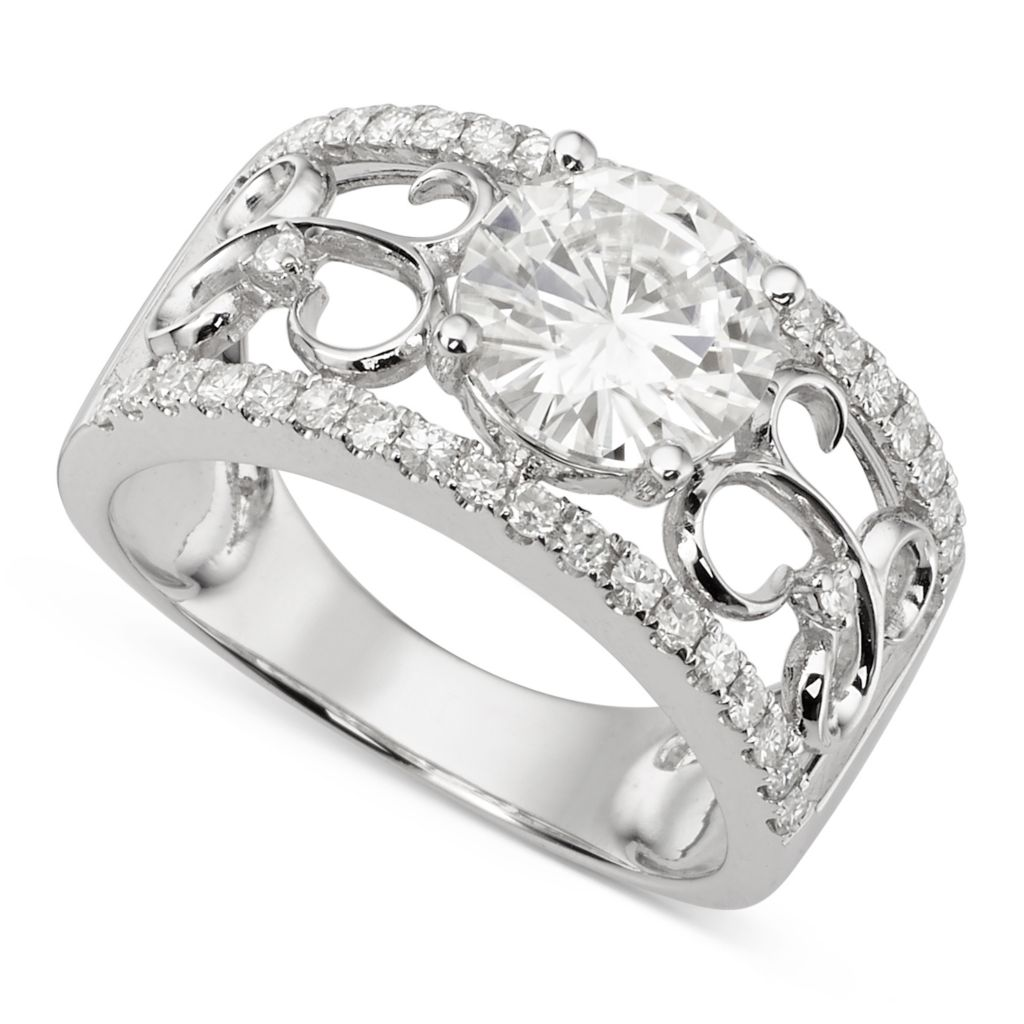 139-895 - Forever Brilliant® Moissanite 14K White Gold 2.28 DEW Round Cut Fashion Band Ring