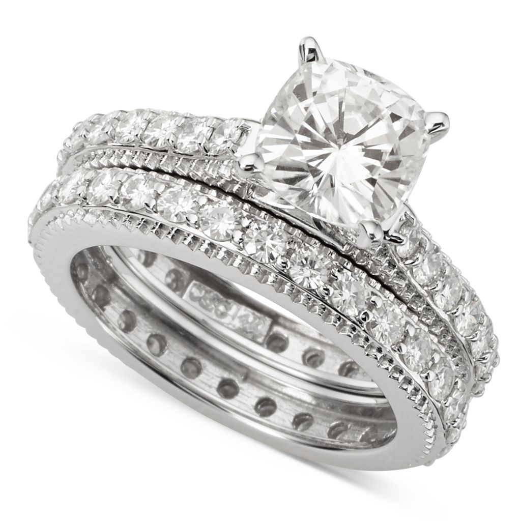 139-900 - Forever Brilliant® Moissanite Set of Two 14K White Gold 3.62 DEW Engagement & Wedding Rings