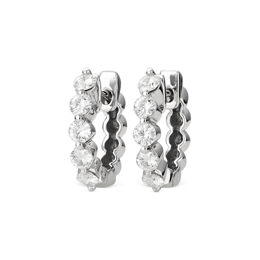 139-908 - Forever Brilliant® Moissanite 14K White Gold 1.00 DEW Hinged Hoop Earrings