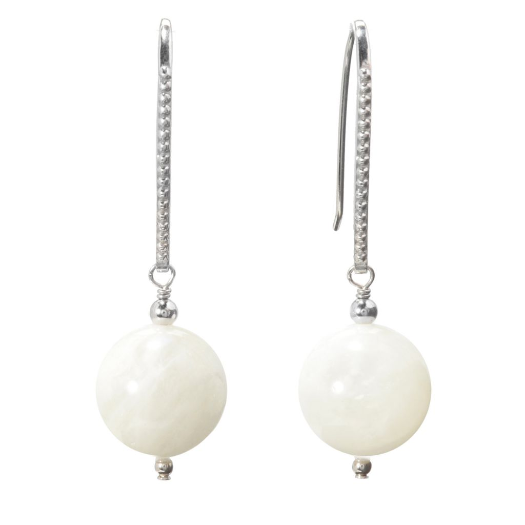 "139-912 - Gem Treasures Sterling Silver 1.75"" 14mm Gemstone Ball Drop Earrings"
