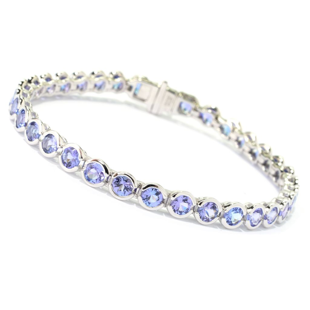 "139-926 - Gem Treasures 14K White Gold 7.25"" 8.02ctw Round Tanzanite Line Bracelet"