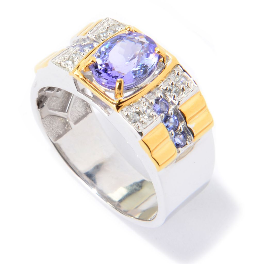 139-929 - Men's en Vogue II 2.26ctw Oval Tanzanite & White Zircon Polished Ring