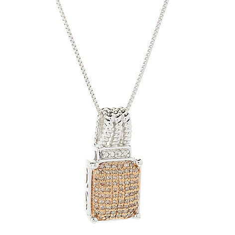 139-934 -  Diamond Treasures Sterling Silver 0.33ctw Fancy Color Diamond Square Pendant