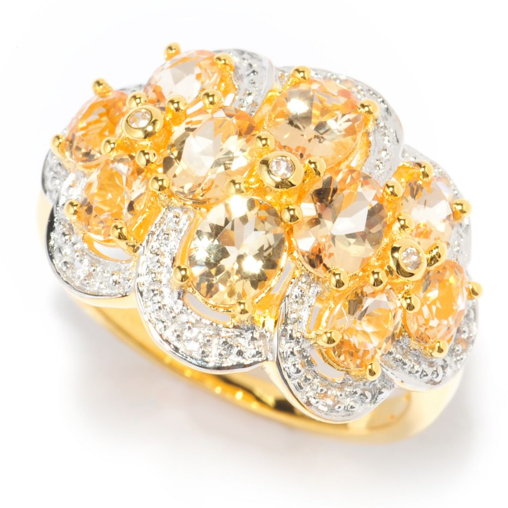 139-935 - NYC II 2.42ctw Oval Imperial Topaz & White Zircon Cluster Ring