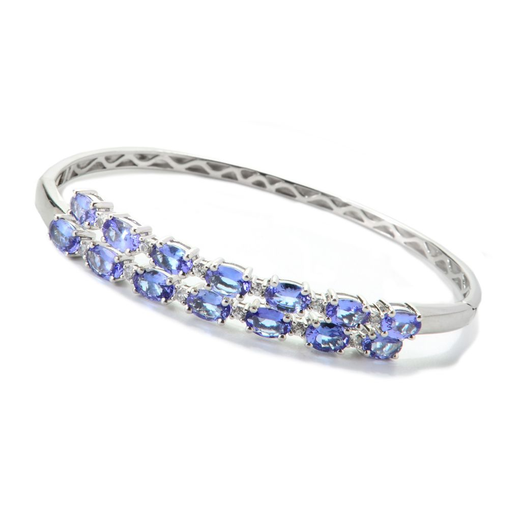 139-936 - NYC II 6.61ctw Oval Tanzanite & White Zircon Double Hinged Bangle Bracelet