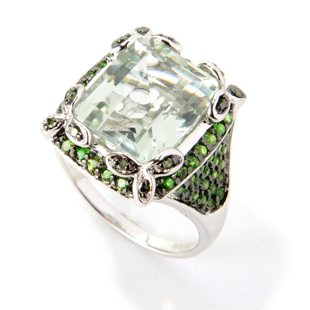 139-937 - NYC II 6.41ctw Emerald Cut Prasiolite, Chrome Diopside & Green Diamond Ring