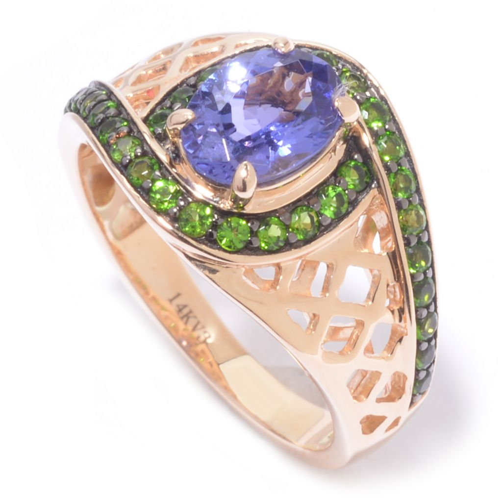 139-942 - Gem Treasures 14K Gold 1.72ctw Oval Tanzanite & Chrome Diopside Woven Shank Ring