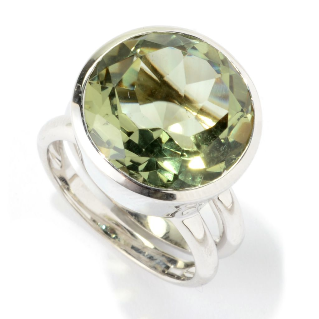 139-943 - Gem Treasures Sterling Silver 9.00ctw Round Gemstone Split Shank Ring