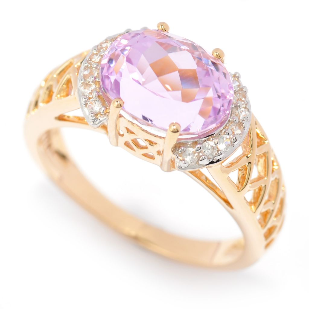 139-948 - Gem Treasures 14K Gold 3.18ctw Kunzite & White Zircon Crisscross Ring
