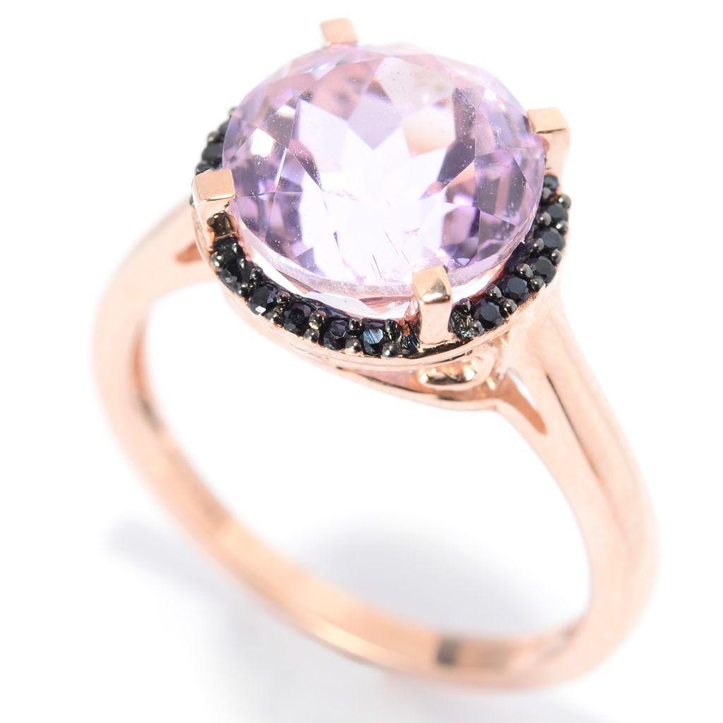 139-949 - Gem Treasures 14K Rose Gold 4.27ctw Round Kunzite & Black Spinel Halo Ring