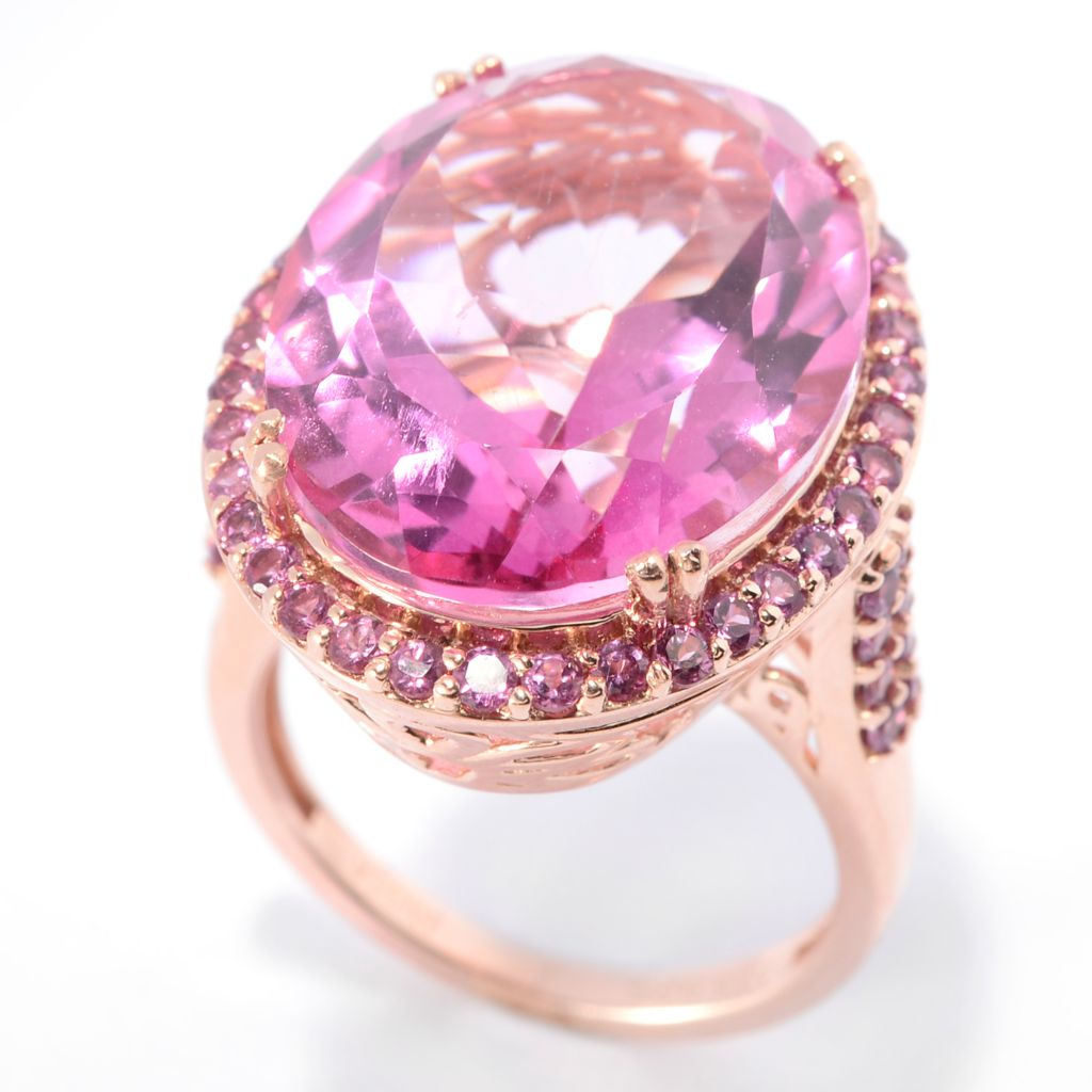 139-960 - NYC II 14.04ctw Oval Orchid Pink Quartz & Rhodolite Halo Ring