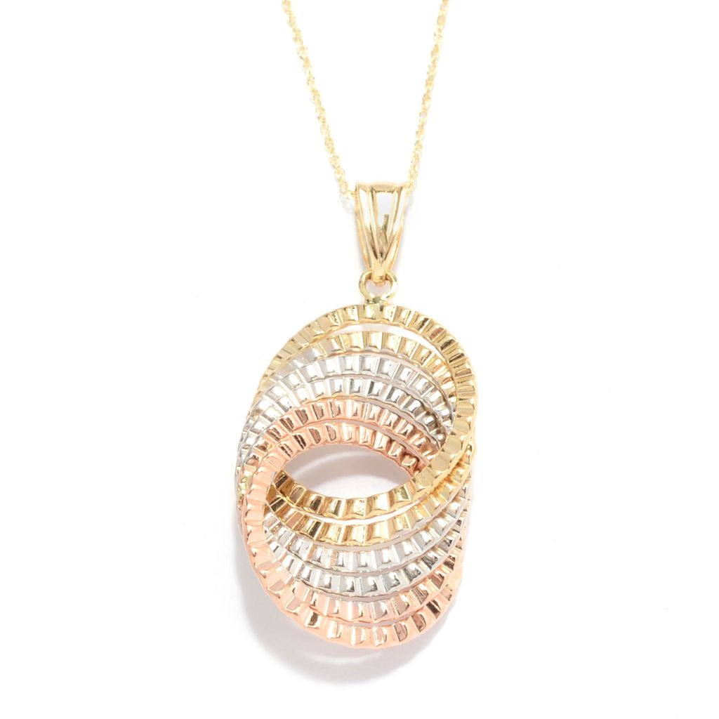 139-962 - Signature Luxe™ 14K Tri-color Gold Interlocking Textured Circle Pendant w/ Chain