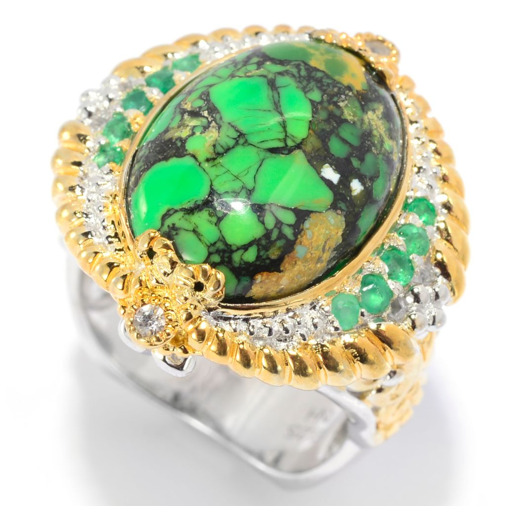 139-964 - Gems en Vogue II 16 x 12mm Green Mohave Turquoise & Multi Gem Ring