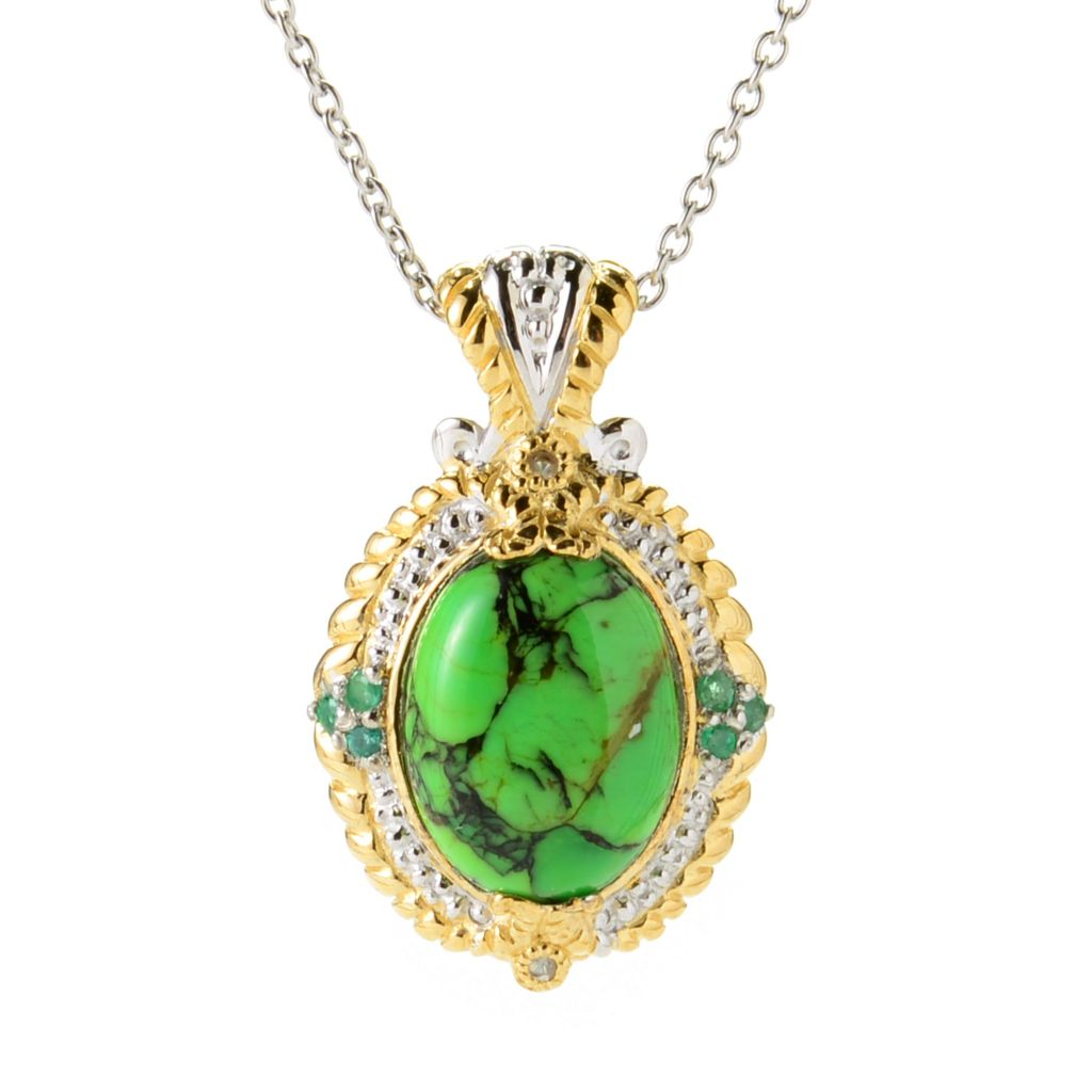 139-965 - Gems en Vogue 16 x 12mm Green Mohave Turquoise & Multi Gemstone Pendant w/ Chain