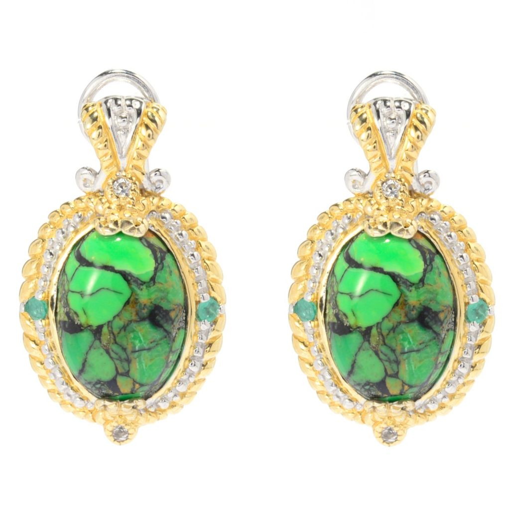 "139-966 - Gems en Vogue 1"" 14 x 10mm Green Mohave Turquoise & Multi Gem Earrings"