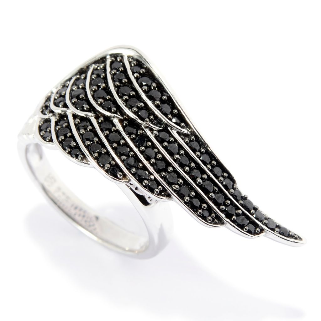 139-968 - NYC II Round Gemstone Angel Wing Elongated Ring