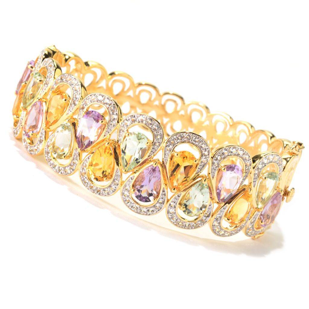 139-969 - NYC II Pear Shaped Multi Gemstone Hinged Bangle Bracelet
