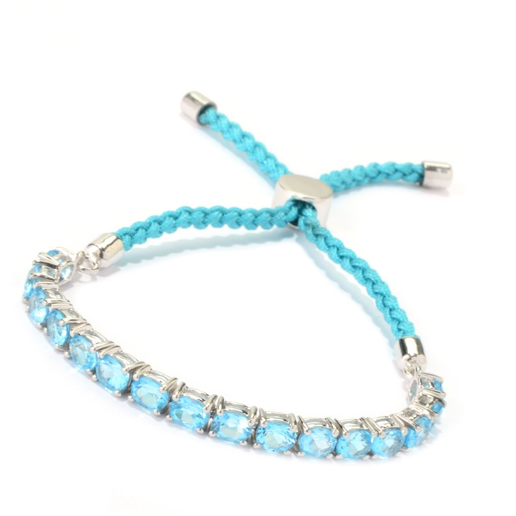 139-970 - NYC II Oval Gemstone Adjustable Tennis Friendship Bracelet