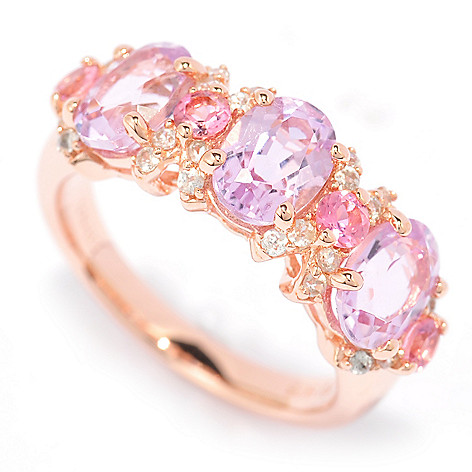 139-971 - NYC II™ 3.10ctw Kunzite, White Zircon & Pink Tourmaline Band Ring