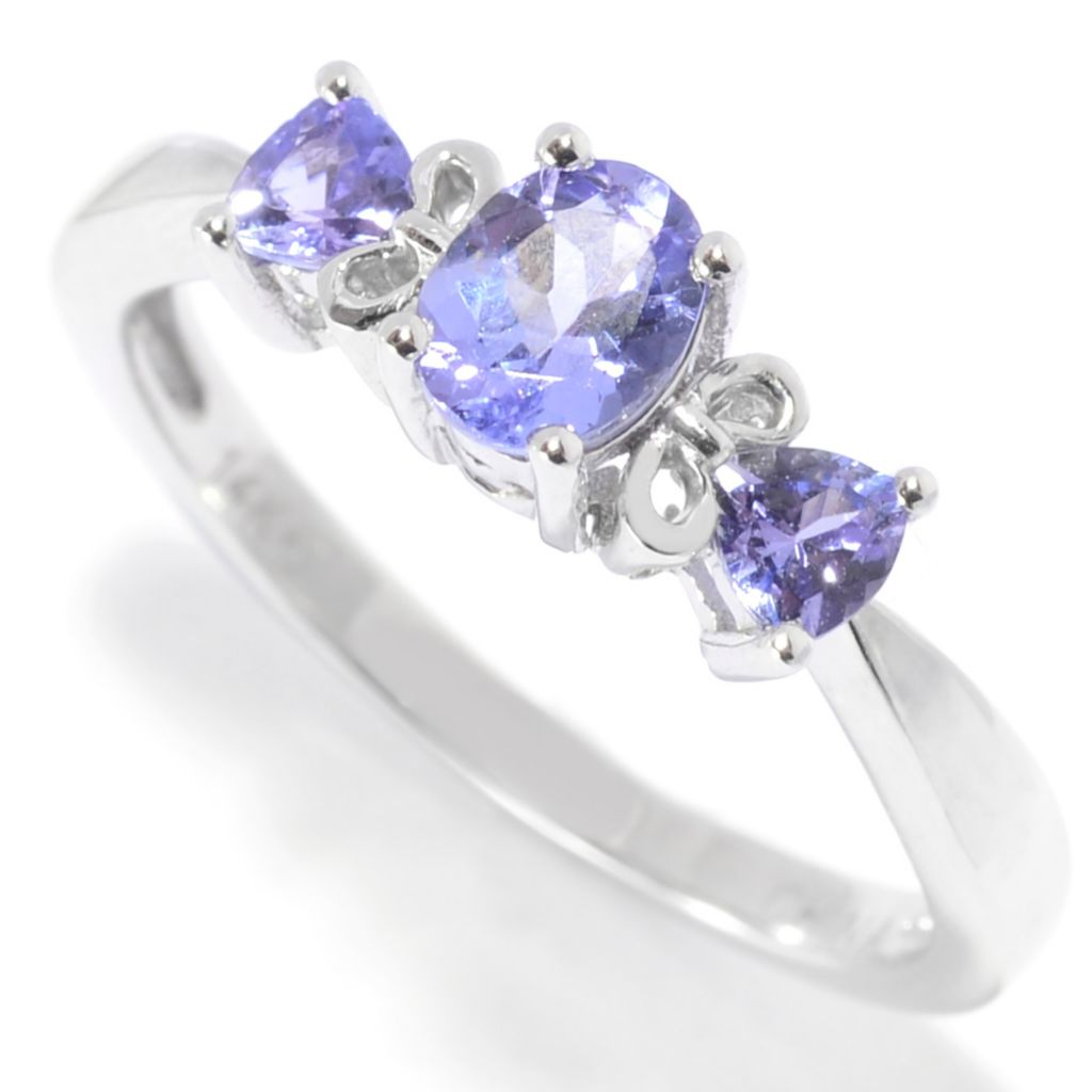 139-972 - Gem Treasures 14K White Gold Oval & Trilliant Cut Tanzanite Scrollwork Ring