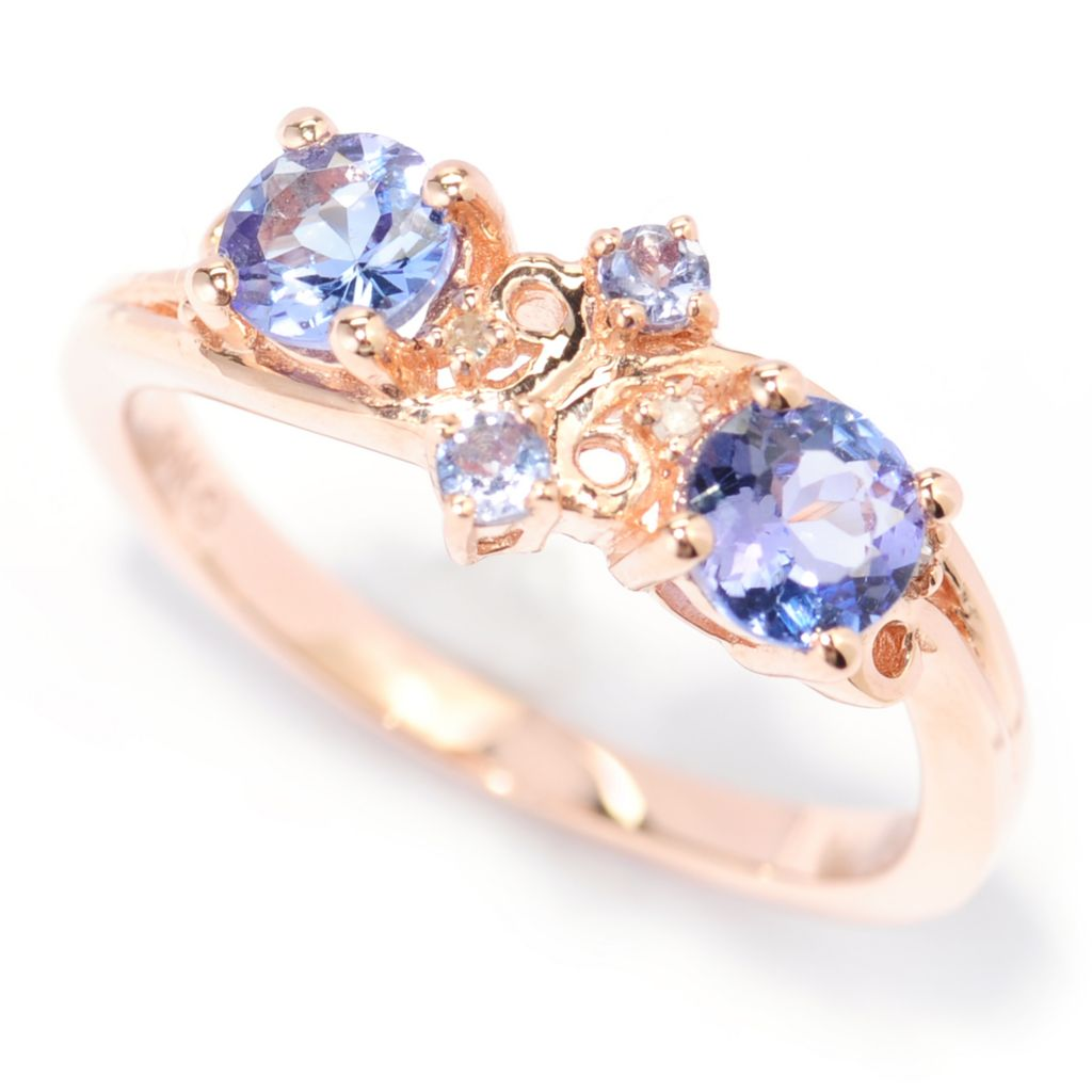 139-973 - Gem Treasures 14K Rose Gold Tanzanite & Diamond Swirl Band Ring