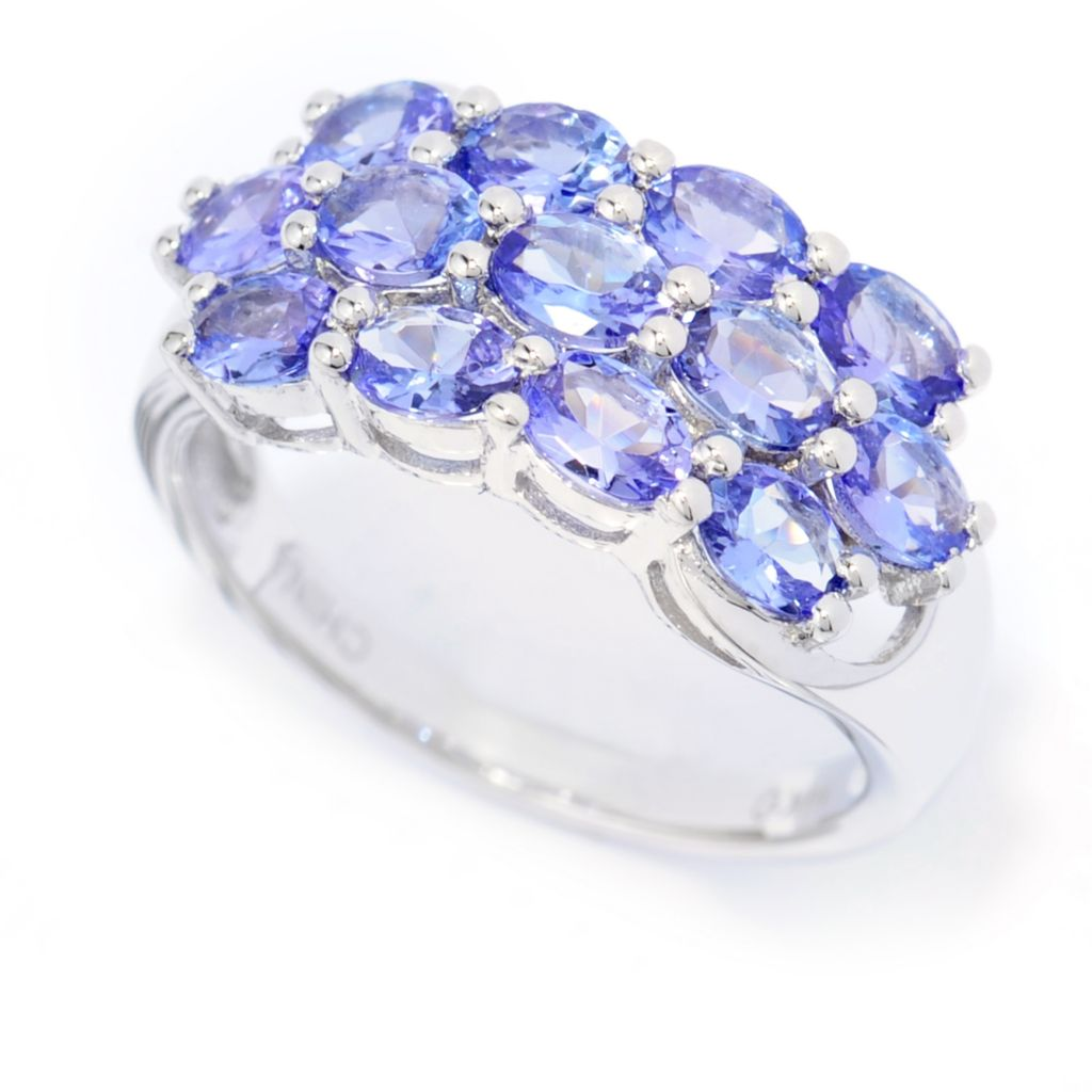 139-974 - Gem Treasures 14K White Gold 1.69ctw Tanzanite Three-Row Cluster Ring