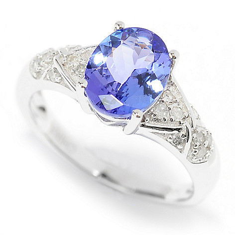 139-975 - Gem Treasures® 14K White Gold 1.41ctw Oval Tanzanite & Diamond Ring