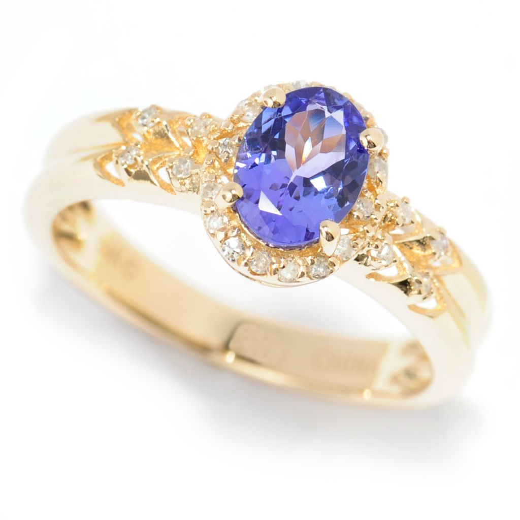 139-976 - Gem Treasures 14K Gold Oval Tanzanite & Diamond Halo Ribbed Shank Ring