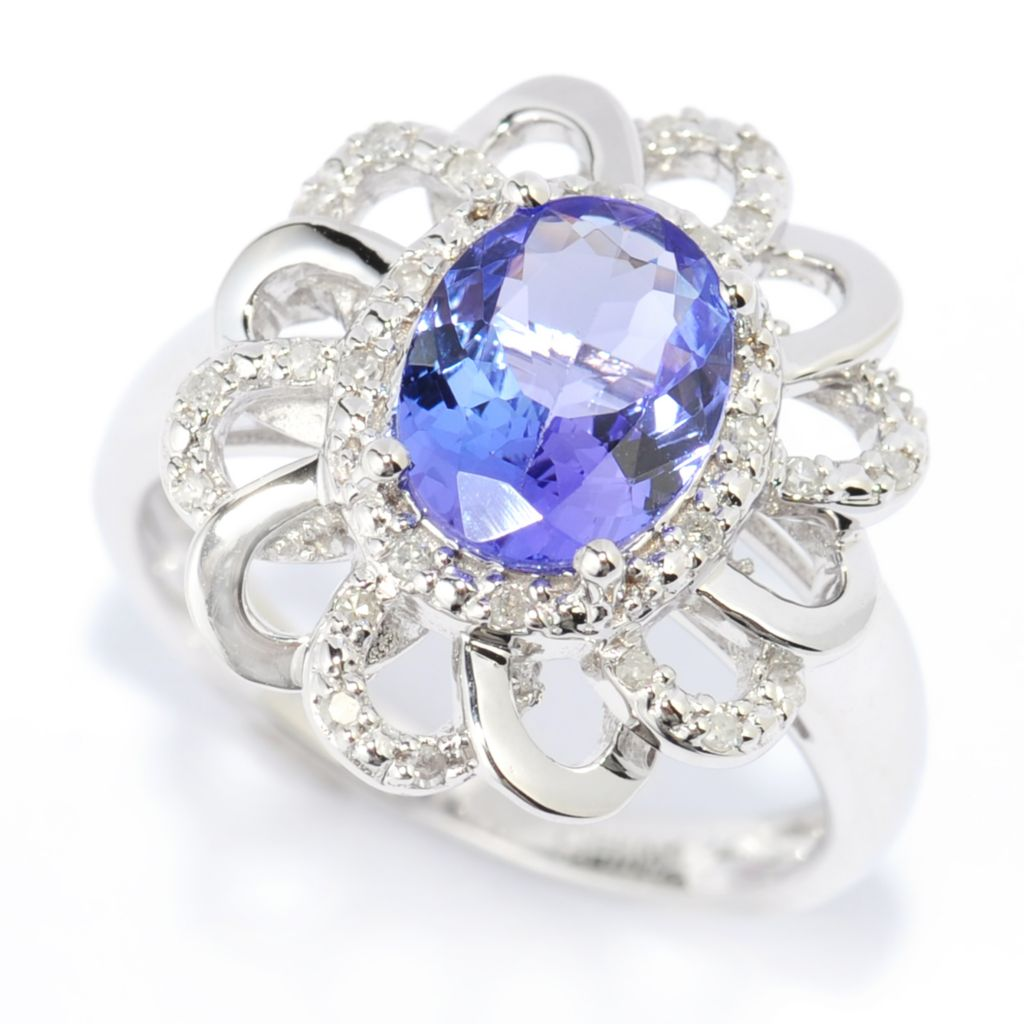 139-977 - Gem Treasures 14K White Gold 1.38ctw Tanzanite & Diamond Halo Flower Ring