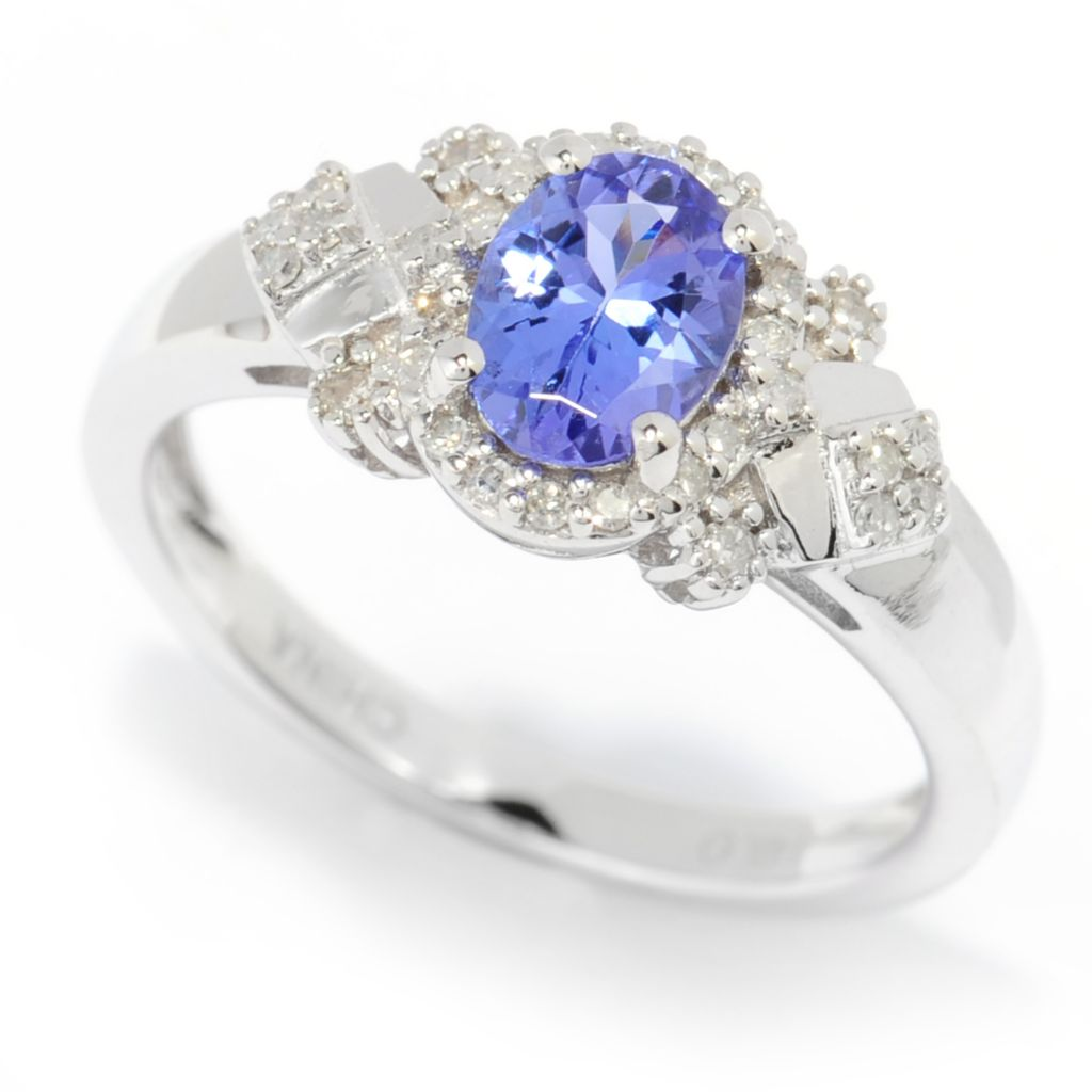 139-978 - Gem Treasures 14K White Gold Oval Tanzanite & Diamond Halo Ring