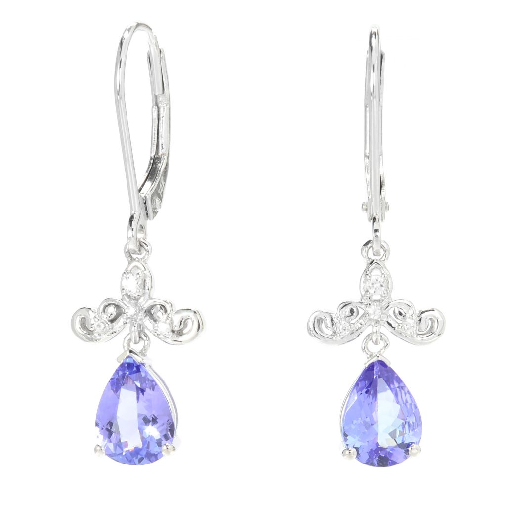 "139-979 - Gem Treasures 14K White Gold 1.25"" 1.70ctw Tanzanite & White Zircon Earrings"