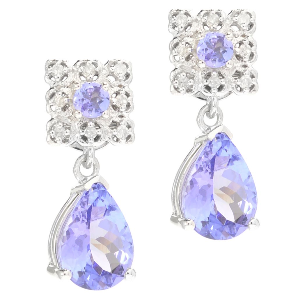 139-980 - Gem Treasures 14K White Gold 1.77ctw Pear Shaped Tanzanite & Diamond Earrings