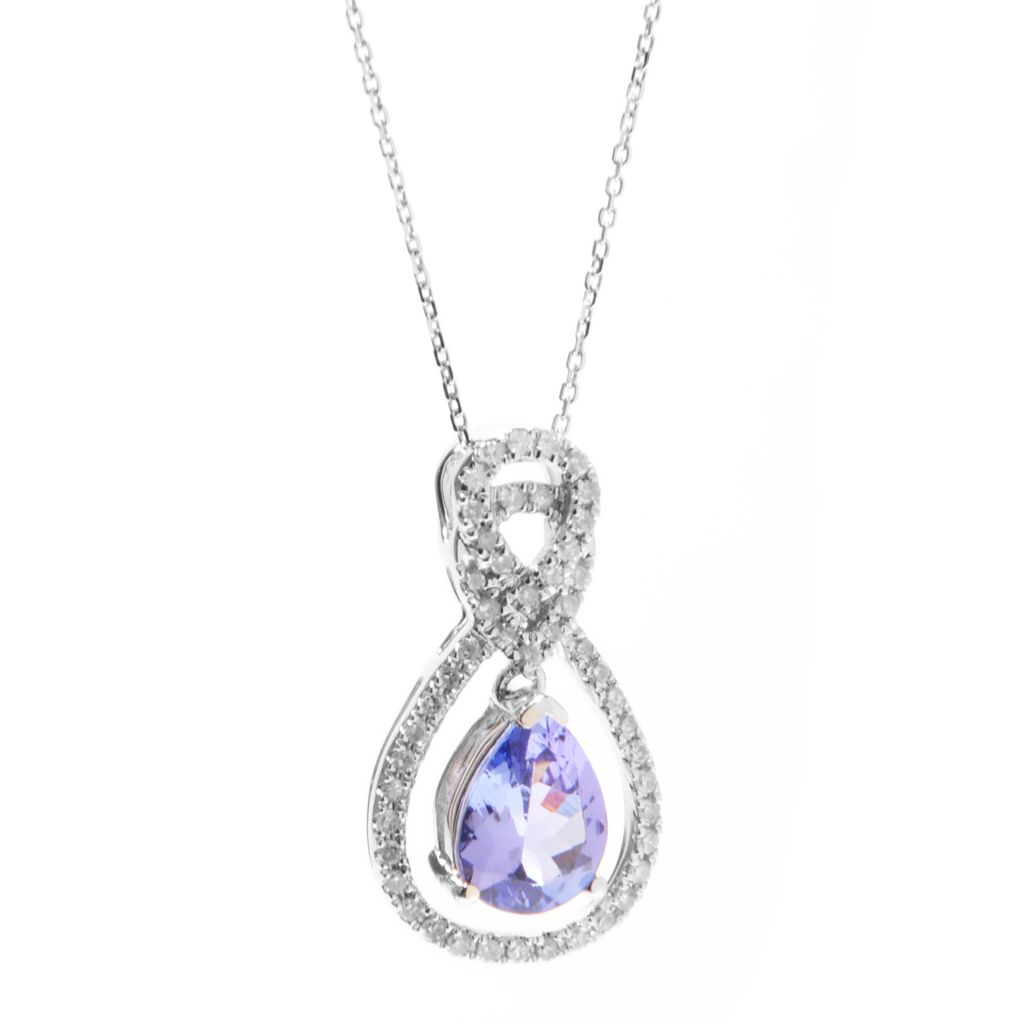 "139-981 - Gem Treasures 14K White Gold Tanzanite & Diamond Pendant w/ 18"" Chain"