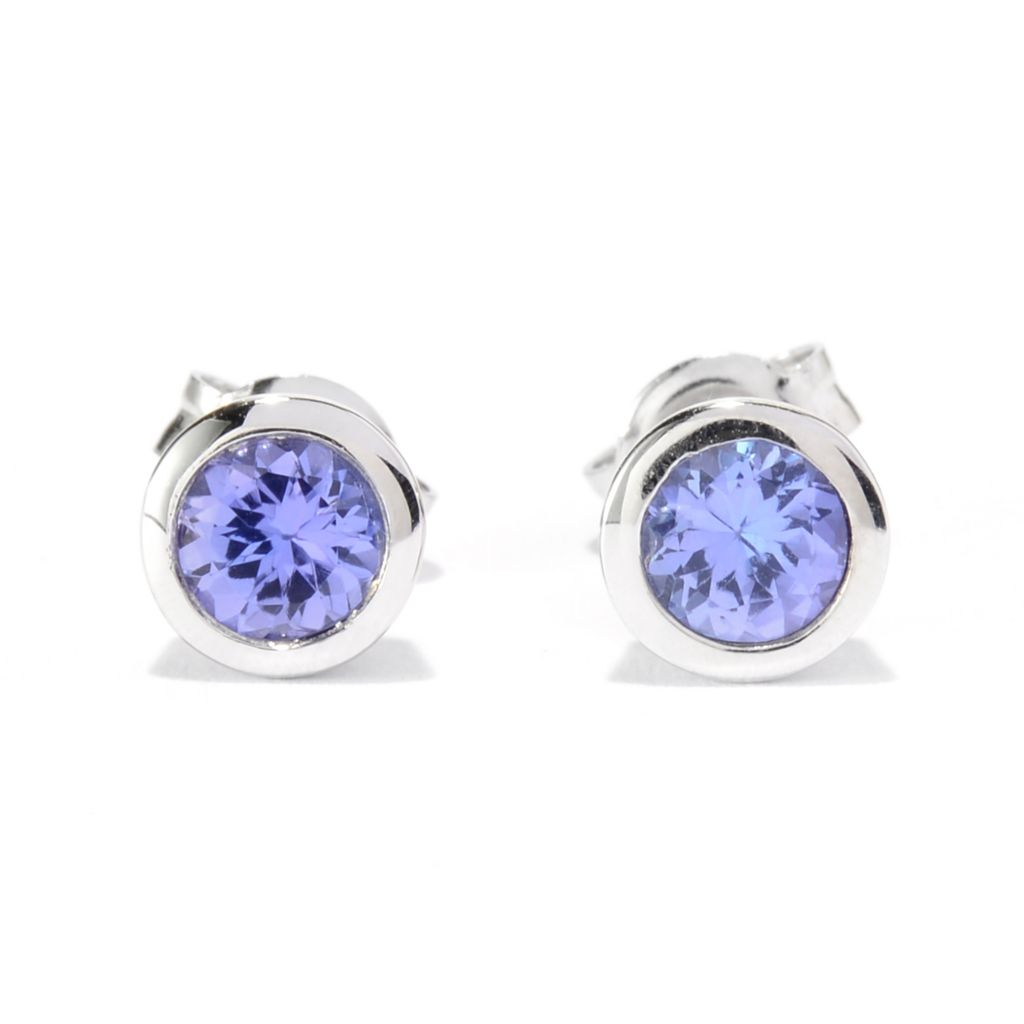 139-982 - Gem Treasures Sterling Silver Round Tanzanite Stud Earrings