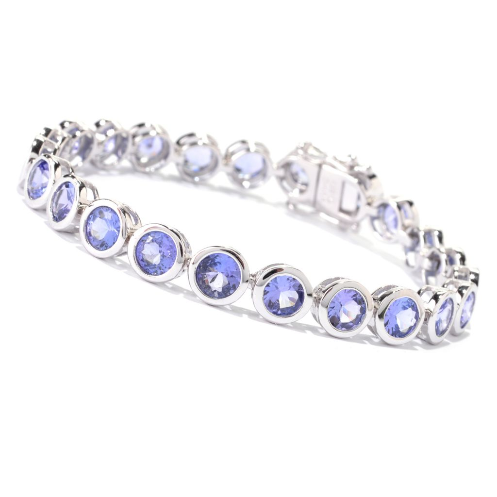 139-983 - Gem Treasures Sterling Silver Round Tanzanite Line Bracelet