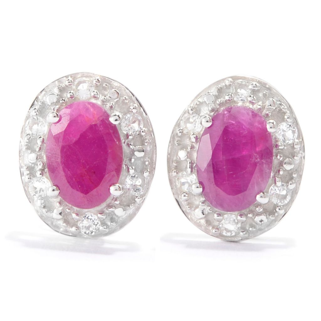 139-984 - Gem Treasures Sterling Silver 1.84ctw Madurai Ruby & White Topaz Earrings