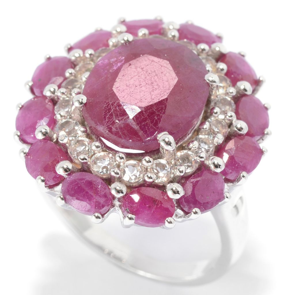 139-985 - Gem Treasures Sterling Silver 6.09ctw Madurai Ruby & White Topaz Flower Ring