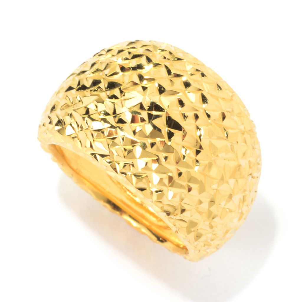 139-990 - Portofino 18K Gold Embraced™ Polished & Diamond Cut Wide Band Ring