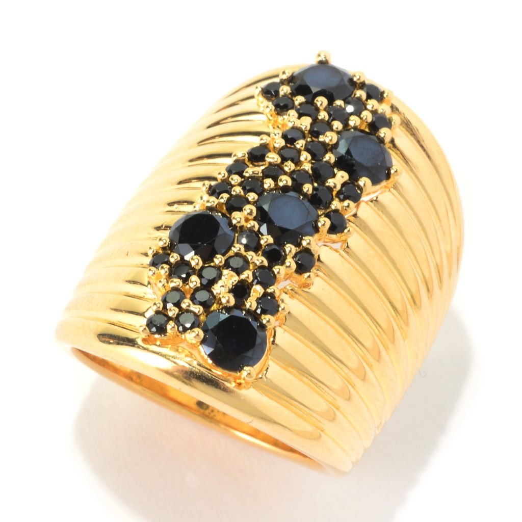 139-992 - Portofino 18K Gold Embraced™ 1.35ctw Black Spinel Cluster Elongated Ring