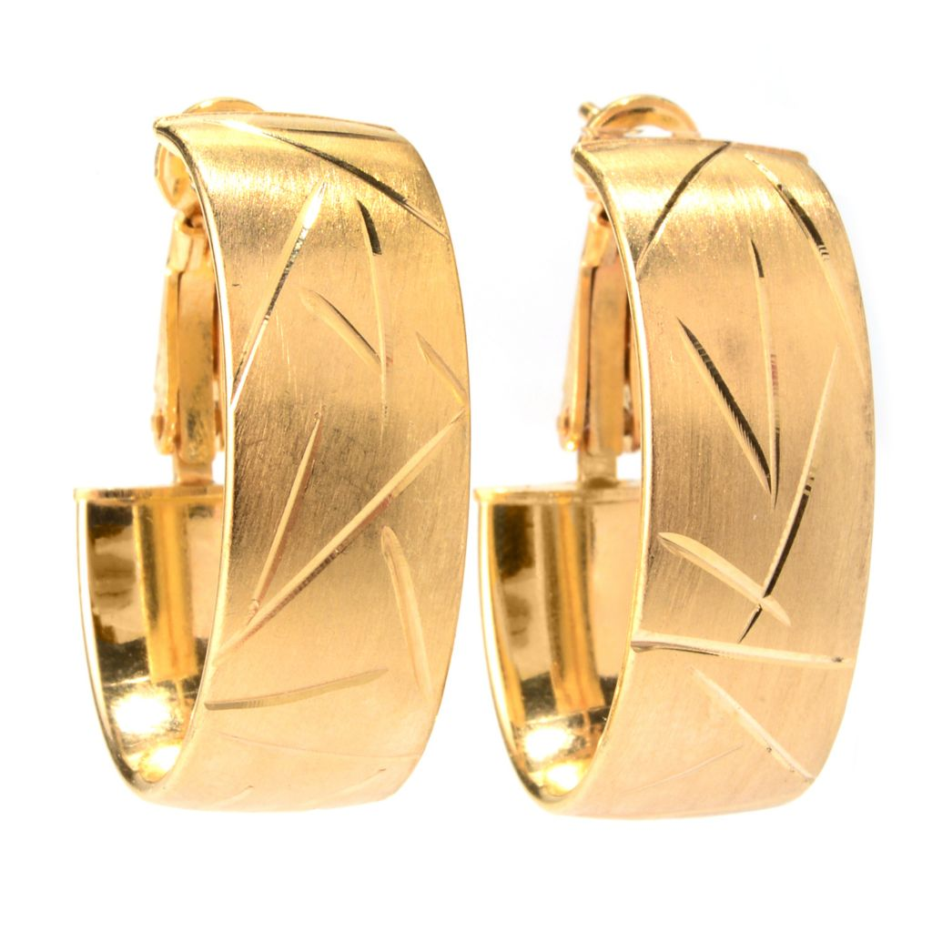 "139-997 - Portofino 18K Gold Embraced™ 1"" Diamond Cut Hoop Earrings w/ Omega Backs"