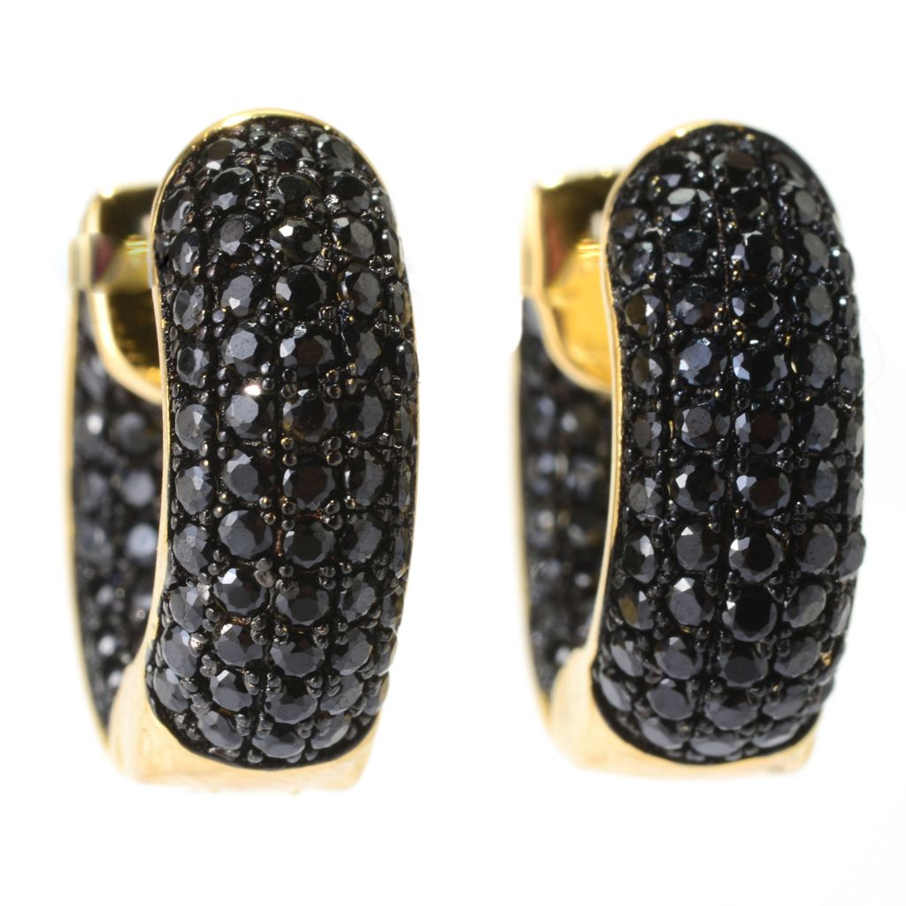 139-999 - Portofino 18K Gold Embraced™ 1.86ctw Black Spinel Huggie Hoop Earrings