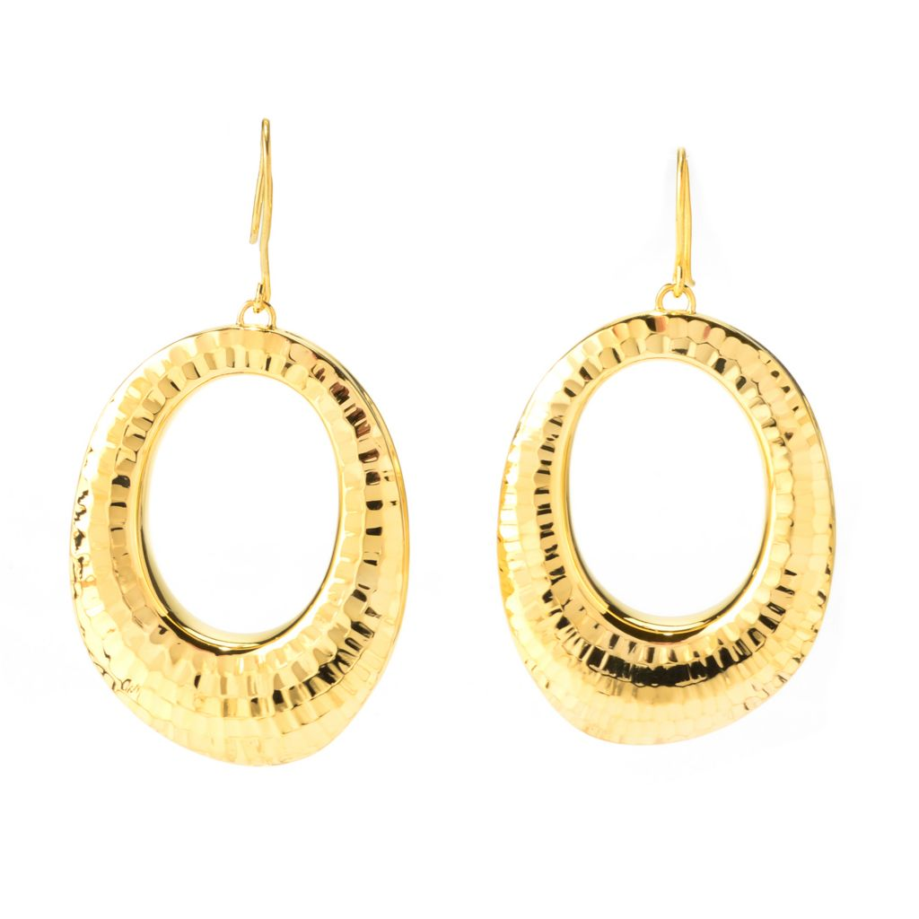 "140-000 - Portofino 18K Gold Embraced™ 2.25"" Diamond Cut Oval Cut-out Drop Earrings"