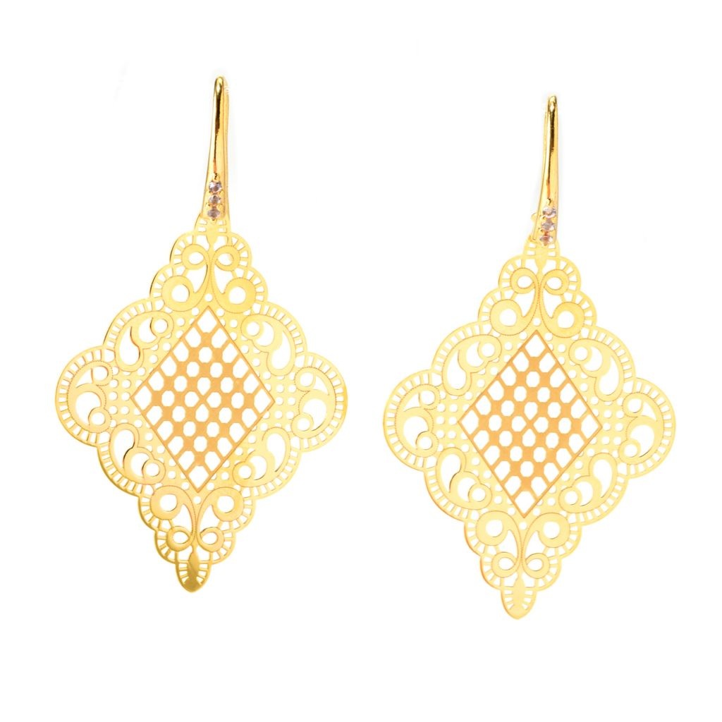 "140-001 - Portofino 18K Gold Embraced™ 2.25"" White Topaz Diamond Shaped Filigree Earrings"