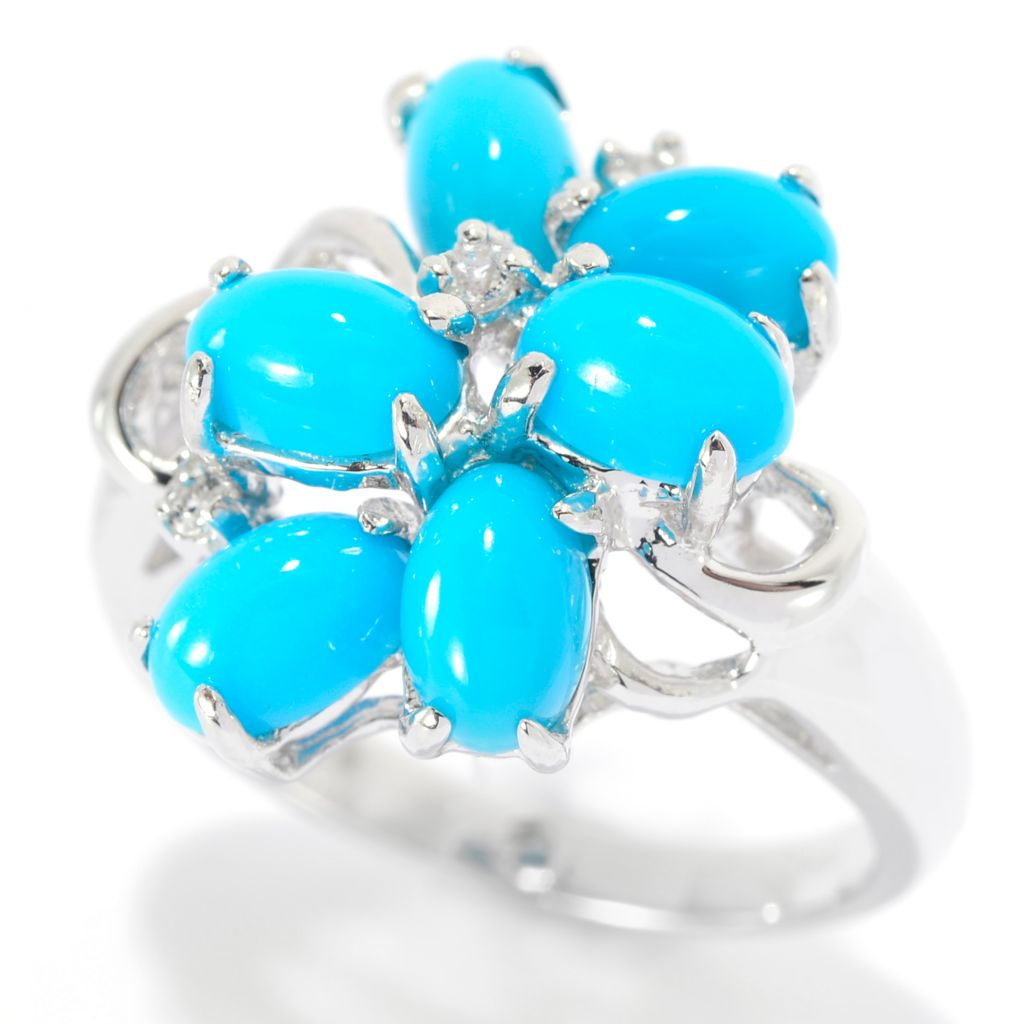 140-011 - Gem Insider Sterling Silver Sleeping Beauty Turquoise & White Topaz Ring