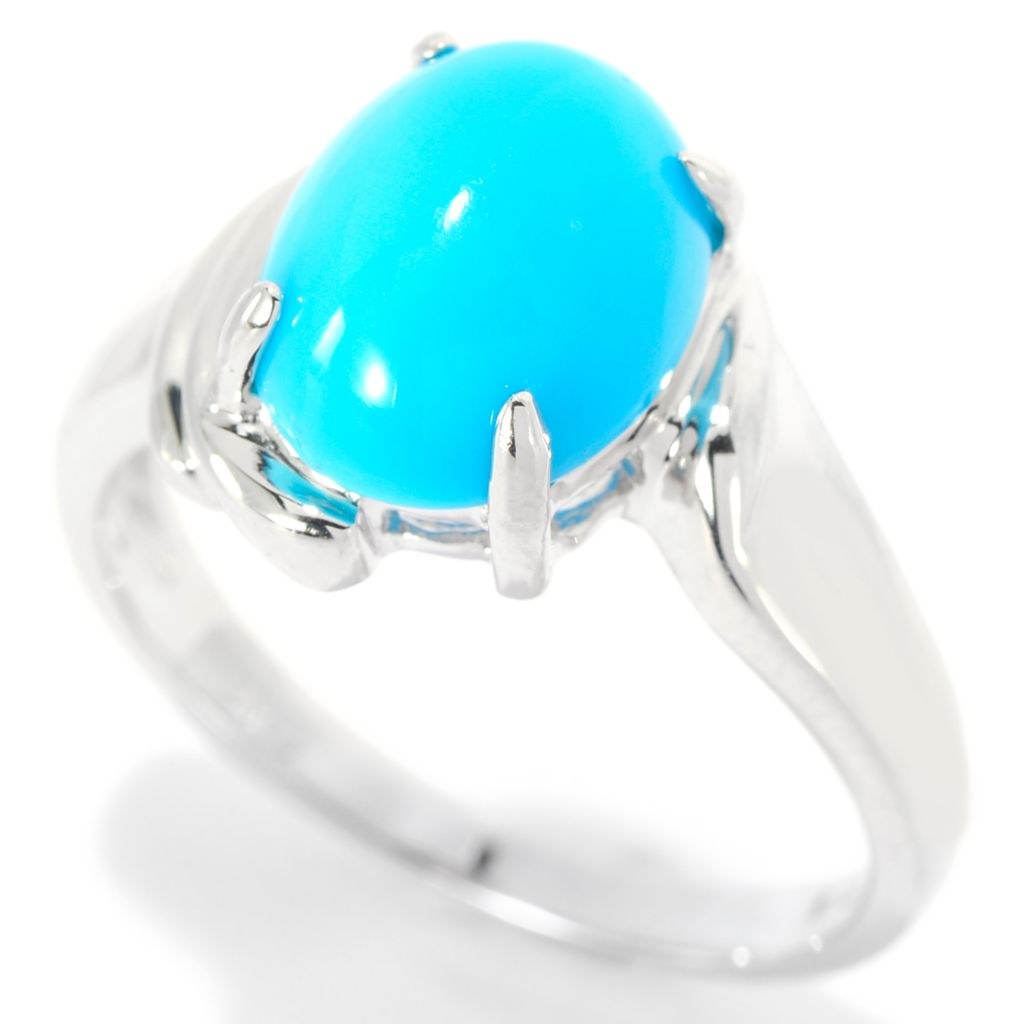 140-013 - Gem Insider Sterling Silver 10 x 8mm Sleeping Beauty Turquoise Ring